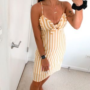 CAD Yellow Striped Babydoll Tie Front Dress